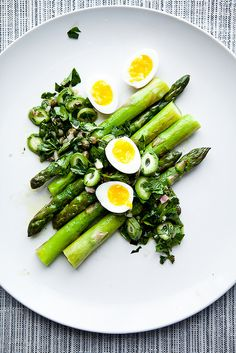 Green Almond Salsa Rustica with Asparagus