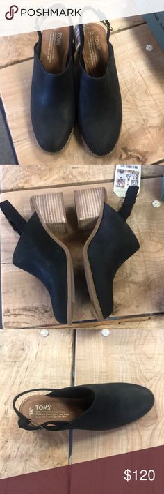 efa67d1fed4 Tom s Leila Slingback Tom s black leather mule with a wood heel. This look  great with