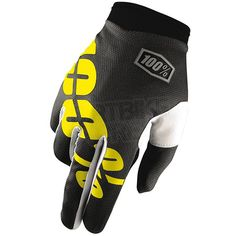 2016 100% iTrack Kids Motocross Gloves - Black Neon Yellow