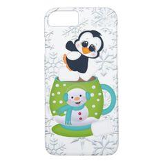 #Christmas cocoa penguin snowflake iPhone 7 case - #Xmas #ChristmasEve Christmas Eve #Christmas #merry #xmas #family #kids #gifts #holidays #Santa