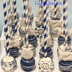 Nautical baby shower cake pops by Gema Sweets.