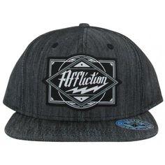 7ba9d155703 Affliction Black Snapback Flat Brim Hat w  Grey Logo