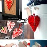 Hearts from cardboard and thread – three variants ( I love the idea of using a toothpick for a needle )