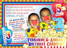 Personalized Colorful Carnival Birthday Invitations