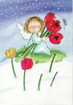 Postcrossing postcard from Finland Illustrations, Illustration Art, Seraph Angel, Angels Among Us, Guardian Angels, Angel Art, Whimsical Art, Cherub, Cute Drawings