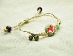Red Fox bracelet ceramics Fox wrist wrap Jingle bell jewelry Natural Hemp rope and Wood beads bracelet Woodland Animal Bracelet Adjustable by Nicestreet2013 on Etsy