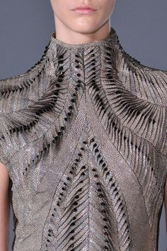Micro textures, pattern & print - dress with intricate surface manipulation; fashion details // Iris Van Herpen AW14