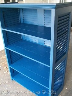 shutters repurposed bookshelf