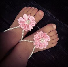 Baby barefoot sandals, baby girl, baby jewelry, baptism, new baby, infant, baby shoes, baby clothes, baby pink flower, baby shower gift