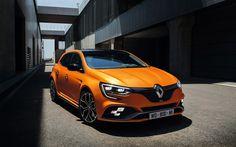 Lataa kuva 2018, Renault Megane RS, näkymä edestä, tuning Megane, urheilu versio, kilparadalla, Ranskalaiset autot, oranssi Megane, Renault