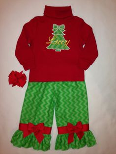Red Long Sleeve T with Chevron Appliqué Tree/Name with Green Chevron Ruffle Pants and Red Hairbow