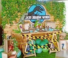 fiesta tematica de Jurassic World Decoración temática de dinosaurios Jurassic Park y World Birthday Party At Park, Dinosaur Birthday Party, Boy Birthday Parties, 9th Birthday, Park Party Decorations, Party Themes, Party Ideas, Festa Jurassic Park, Lego Jurassic World