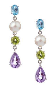 Cultured Pearl & Gemstones Silver Drop Earrings
