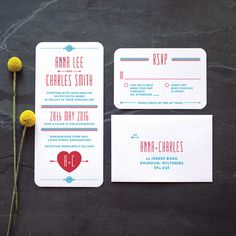 Retro Folksy Wedding Invitation / 'Lovestruck' Simple Heart Monogram Wedding Invite / Red White Blue / Custom Colours Available / ONE SAMPLE by twoforjoypaper on Etsy https://www.etsy.com/listing/65863739/retro-folksy-wedding-invitation