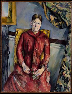 Paul Cézanne (French, 1839–1906). Madame Cézanne (Hortense Fiquet, 1850–1922) in a Red Dress, 1888–90. The Metropolitan Museum of Art, New York. The Mr. and Mrs. Henry Ittleson Jr. Purchase Fund, 1962 (62.45) #reddress