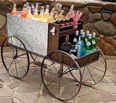 Galvanized Metal Caravan Bar Cart