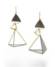 Exquisite Triangle Earring $448 handmade paper, gold