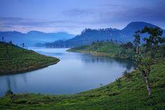 Looking across the lake to Sri Pada (Adam's Peak), Sri Lanka's holy mountain.