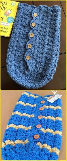 Crochet Button-Up Baby Cocoon and Hat Free Pattern - Crochet Snuggle Sack & Cocoon Free Patterns