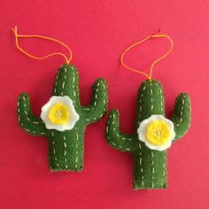 "Cactus Ornament, Ulla Anobile, Hand stitched felt, embroidery floss, polyfill, 3 1/2"" tall, $10 each - ALL SOLD"