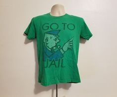 Monopoly Go To Jail Adult Small Green TShirt #Monopoly #GraphicTee