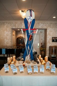 Ski & Snowboarding Bar Mitzvah Theme Ideas - Seating Cards Display {Ira Casel Photography} - mazelmoments.com