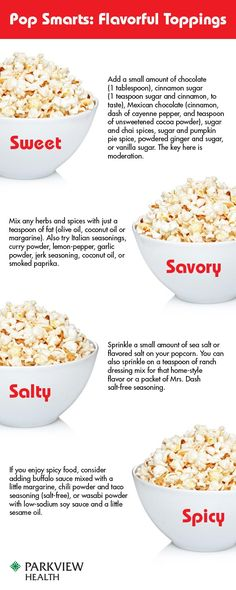 Is popcorn a healthy snack? Learn how to keep this movie theater staple healthy and add delicious seasonings for sweet, savory, salty or spicy flavor. - via Parkview Health #popcorn #recipe #seasoning Read more in http://natureandhealth.net/