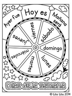 Lita Lita: FREE Days of the Week Wheel in English and Spanish for students to individually color and use Spanish Teacher, Spanish Classroom, Teaching Spanish, Teaching English, Teaching Resources, Bilingual Classroom, Preschool Spanish, Spanish Vocabulary, Classroom Language