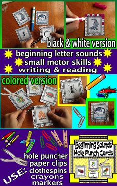 "This ""Beginning Sounds"" product helps your students improve their literacy skills: correctly identify beginning/initial sounds in given words, correctly identify all consonant sounds and short vowels, letter recognition, proper letter formation, writing, reading, small motor development/ fine motor skills and eye-hand coordination. This product includes 126: different cards in both color and black & white, for easy and economical printing."