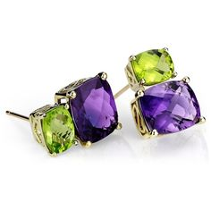 Blue Nile Amethyst and Peridot Earrings in 14k Yellow Gold via Polyvore