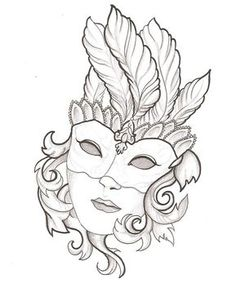 drawings of mardi gras mask Venetian Mask Tattoo, Venetian Masks, Printable Adult Coloring Pages, Coloring Book Pages, Mask Drawing, Drawing Room, Quilled Creations, Doodle Art, Embroidery Patterns
