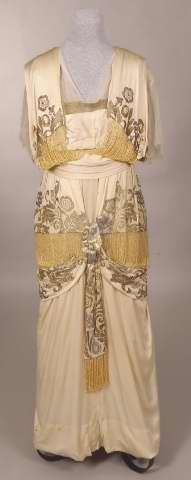 White silk charmeuse dress with gold and silver embroidery and beadwork, American, 1912-1914.