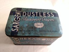 Blue Sargent Dustless Blackboard Crayon Metal Tin, 1930's by MySimpleDistractions on Etsy