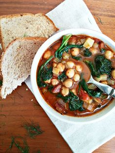 Stew with sausage, garbanzo beans, and spinach. Easy, filling, and tasty. I used Italian-seasoned chicken sausage.