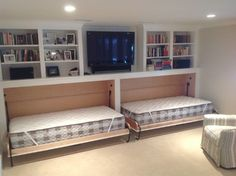 Built in guest beds in family room