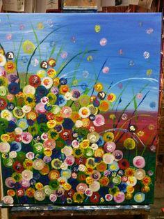 Acryl sxhilderij, Bloemen eigen werk;50x60cm, € 175