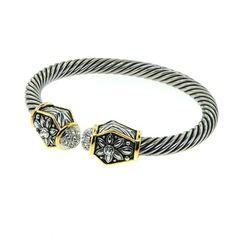 Designer Inspired Cable Style bracelet with diamond CZ stones