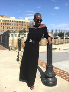 #sponsored Stop #2 on our Destination Chico's Journey takes us to Boho Lux in a flowing mat jersey black off-the-shoulder maxi dress from Chico's - So What to Twenty!: Destination Chico's: Boho Lux
