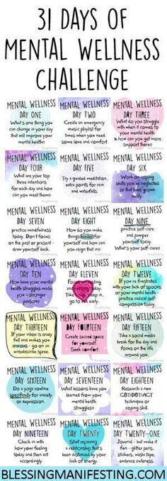 A Mental Wellness to challenge to encourage you to focus on your mental health. This is great for anxiety, depression, or PTSD. Mental Training, Self Care Routine, Healthy Mind, Self Improvement, Self Love, Health Fitness, Mindfulness, Mental Health Awareness Day, Mental Health Day