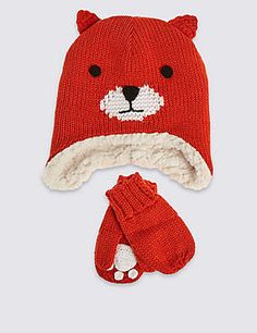 Kids' Fox Hat & Mittens