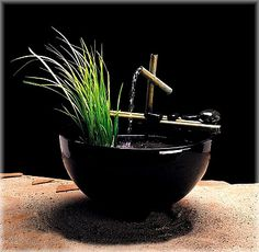 A mix of modern Zen materials and a light trickling sound make this Nayer Kazemi Water Art Nature Bowl Indoor Fountain perfect for your meditation. Indoor Tabletop Fountains, Indoor Water Fountains, Indoor Fountain, Fountain Garden, Feng Shui Fountain, Water Fountain Pumps, Tabletop Water Fountain, Bamboo Fountain, Small Water Features