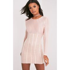 Iryka Nude Mesh Stripe Suede Skirt Bodycon Dress ($38) ❤ liked on Polyvore featuring dresses, pink, long sleeve mesh dress, suede dresses, mesh bodycon dress, bodycon dress and pink party dress