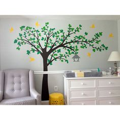 Pop Decors Big Tree with Love Flying Birds Right Leaning Tree Wall Decal | AllModern