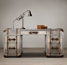 Trendy Home Office Industrial Style Restoration Hardware Ideas Metal Patio Furniture, Industrial Furniture, Industrial Style, Furniture Design, Office Furniture, Industrial Decorating, Industrial Desk, Funky Furniture, Restoration Hardware