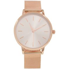 Aeropostale Metal Mesh Analog Watch (€13) ❤ liked on Polyvore featuring jewelry, watches, rose gold, metal mesh jewelry, metal jewelry, aeropostale jewelry, polish jewelry and aéropostale