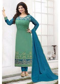 couleur verte georgette churidar costume, - 88,00 €, #TenueIndou #RobeBollywood #CostumeFrance #Shopkund