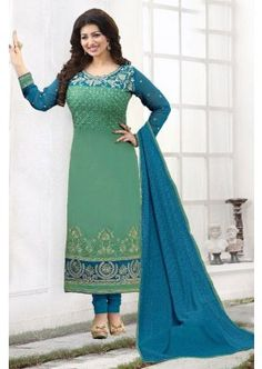 couleur verte georgette churidar costume, - 88,00 €, #TenueIndou #RobeBollywood #CostumeFrance #Shopkund