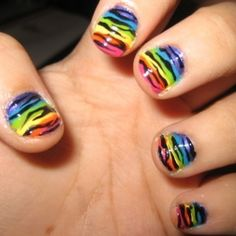 I love painting zebra stripes on my nails but i never thought to do a rainbow base...nice for the coming summer!