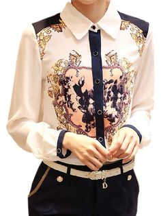 OL Style Floral Printed Chiffon Plus Size Long Sleeve Leisure Single Breasted Button White Blouse on fashionsure.com