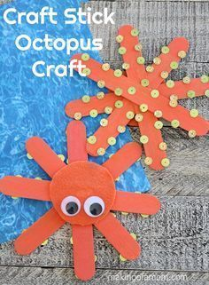 Craft Stick Octopus Craft is easy even toddlers can make it! # Easy Crafts for 10 year olds Summer Crafts For Toddlers, Easy Crafts For Kids, Craft Activities For Kids, Toddler Crafts, Easy Preschool Crafts, Ocean Activities, Spanish Activities, Animal Activities, Craft Ideas